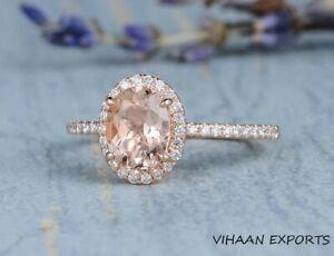 925 Sterling Silver Morganite Oval Cut American Diamond Engagement Handmade Ring