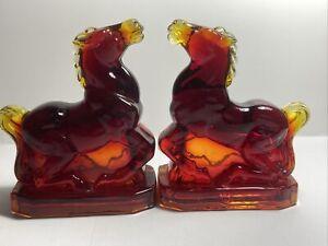 2 BOYD ART GLASS JOEY HORSES Red Flame Orange Amber
