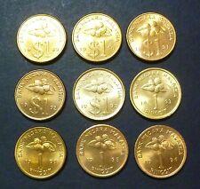 Malaysia 1 Ringgit Keris coin set of 9 pcs 1989-1996 - BU