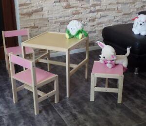 Kindertisch Kinderstuhl KinderHocker Kindersitzgruppe KinderMöbel Massiv Rosa