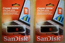 2 SANDISK CRUZER GLIDE 16GB USB FLASH DRIVE MEMORY STICK THUMB 32GB TOTAL