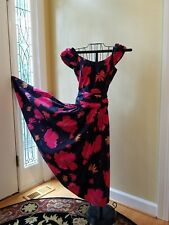 Vintage Laura Ashley Dress Blue with pink and orange flowers 50s Style Party 6