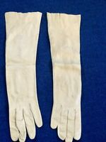Vintage Opera Length Ivory Real Kid Leather Gloves Made In Germany Size 6 1/2