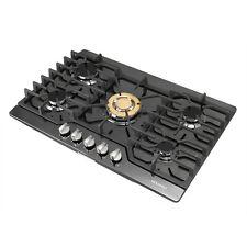New listing 30in. 5 Burners Built In Gas Black Titanium Cooktop Lpg/ Ng Gas & Gold Burner