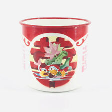 "Chinese Enamel Large Tin Soup Cup Mug ""Double Happiness"" Mandarin Duck 22 oz."