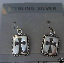 Sterling Silver 19x12mm Rectangular Cutout Cross on 14mm Wire Earrings