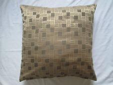 "New Geometric Square Stripe Faux Silk Cushion Cover  Light Brown Mink 18"" x 18"""