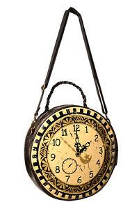 Brown Clock Circular Round Steampunk Retro Handbag Shoulder Bag BANNED Apparel