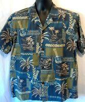 Royal Creations Mens Shirt Size L Multicolor Hawaiian Print Short Sleeve