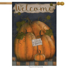 "Pumpkin Patch Welcome Autumn House Flag Fall Primitive 28"" x 40"" Briarwood Lane"