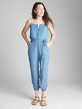 GAP ZIP-FRONT CAMI JUMPSUIT IN TENCEL LIGHT WASH NWT SZ XXL