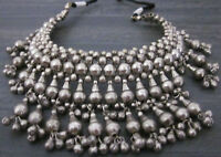 Brass Beads Choker Bib Necklace Silver Vintage Boho Goth Gypsy Tribal Jewelry