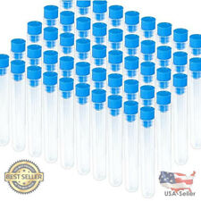 Teenitor 50 Pack Clear Plastic Test Tubes with Blue Caps, 16×100mm, Good Seal