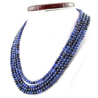 444.00 CTS EARTH MINED 4 LINE RICH BLUE SAPPHIRE ROUND SHAPE BEADS NECKLACE