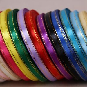 """25 yards 6mm (1/4"""") Edge Gold/Silver Satin Ribbon Rolls Many Colours"""
