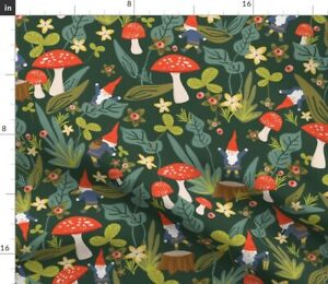 Woodland, Gnomes, Large, Red, Mushroom, Garden, Spoonflower Fabric by the Yard