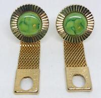 Vintage Hickok Mesh Wrap Around Cuff Links Cufflinks Art Glass Gold Tone