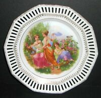 ANTIQUE BAVARIA RETICULATED CLASSICAL LADIES W HARP MUSIC CHARGER PLATE