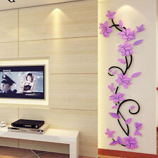 3D Flower Home Room Decor DIY Wall Sticker Removable Acrylic Decal Vinyl Mural