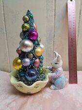 Shabby Cottage Chic Vintage Easter Bottle Brush Tree Decoration Ornaments Bunny
