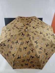 IZOD Umbrella - Brown w/ Poodles Dalmatians & Birdcages - Auto Open w/ Sleeve