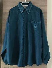 NAF NAF 100% Pure Silk Men's Teal ? Embroidered Shirt Size XL Brand New