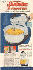 VTG 1950's Sunbeam MIXMASTER Kitchen Food Mixer Appliance RETRO Blue Cooking Ad