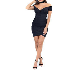 Summer Sexy-V Off Shoulder Evening Cocktail Party Club Bodycon Slim Mini Dress
