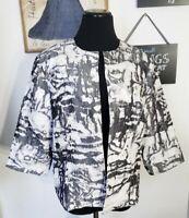 Grey White Tie Dye Jacket Blazer Size PL 14/16 Collarless Open-Front 3/4-Sleeve