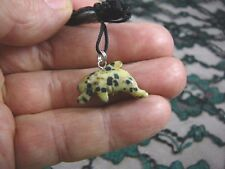 an-dol-5) DOLPHIN porpoise White black spotted carving Pendant NECKLACE gemstone