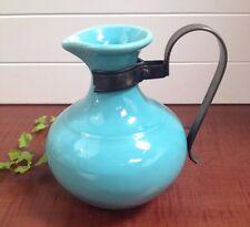 Vtg Gladding McBean Franciscan Turquoise Aqua Blue Ceramic Pitcher Metal Handle