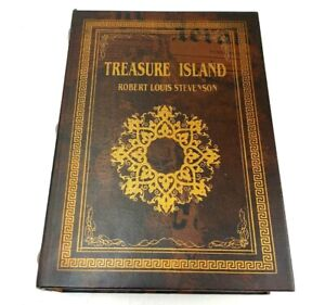 "Treasure Island 9.5"" Book Secret Storage Hollow Jewelry Trinket Box Red Gold EGC"