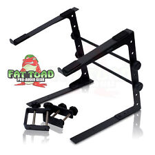 DJ Laptop Computer Stand - Mobile Disc Jockey PC Table Rack Mount Clamp Bracket