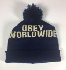 Obey Hat Beanie Knit Cap Navy Blue One Size Pom Pom Unisex Winter Worldwide