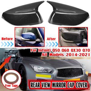 Carbon Fiber For Infiniti Q50 Q60 QX30 Q70 Mirror Cover Caps M3 Style 2014-2021