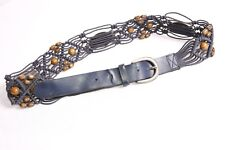 Stunning Dark Blue Natural Lace Belt w Wooden Beads&Metal Printed Plates (S385)