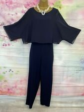 PHASE EIGHT FULL LENGTH BLUE MAXI JUMPSUIT WITH CHIFFON OVERLAY DRESS SIZE 18