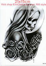 UK 21X15CM Scheletro Donna Pregando 3D MAN LADY Body Art Tatuaggio Temporaneo BRACCIO POSTERIORE