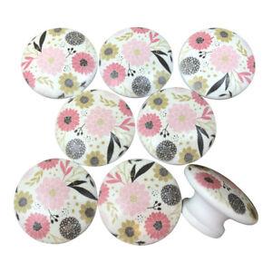 Set of 8 Riley Floral print wood cabinet knobs