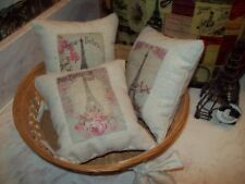 3 SMALL 5x5 Eiffel Tower pillows Paris decor French country vintage cottage