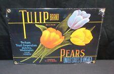 """NOS Tulip Brand Pears Fruit label Porcelain Enamel 7"""" x 10"""" Sign Ande Rooney"""