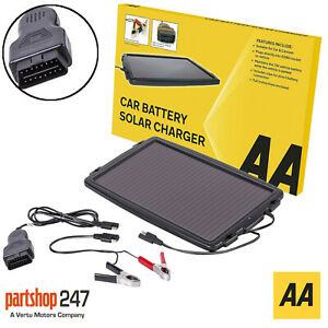 AA 12V Solar Powered Panel Car Caravan Battery EOBD Trickle Charger Maintainer
