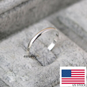 REAL s925 Sterling Silver Solid Thin 2mm Classic Plain Band Ring Wedding Engage