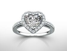 1.50 CT HEART CUT H/VS2  DIAMOND  SOLITAIRE ENGAGEMENT RING 14K WHITE GOLD