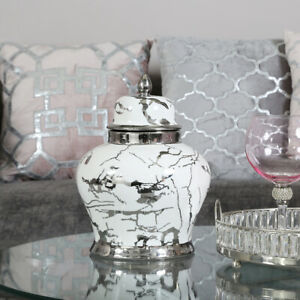 31.5cm White & Silver Ginger Jar Storage Home Décor Display Vase