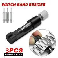 Metal Bracelet Strap Adjuster Watch Band Link Remover + 3 Pins Repair Tool Kit