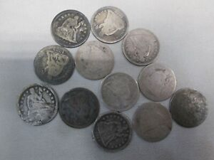 LOT OF 12 SEATED LIBERTY SILVER DIMES- DAMAGED