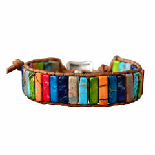 Chakra Armband Schmuck Handgemacht Multi Farbe Naturstein Rohr Perlen Leder H9F9