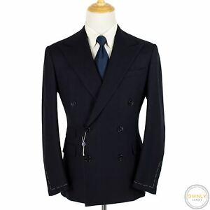 NWT Ralph Lauren Purple Navy Kent Wool Cashmere Textured Dbl Breasted Jacket 42S