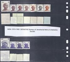 INDIA 1974-1983  DEFINITIVE Stamps of Jawaharlal Nehru & Mahatma Gandhi